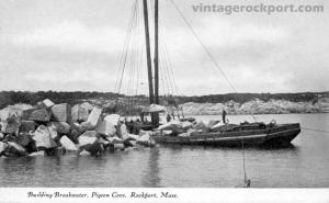 Building Breakwater, Pigeon Cove, Rockport, Mass., circa 1905