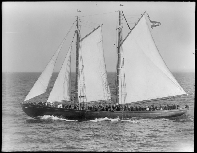 The Adventure racing off Gloucester in 1926.